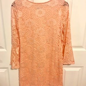 Beautiful Peach Lace Dress with Bell Sleeves.